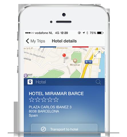 Screenshot of Global Travel Management App Hotel in phone