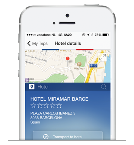 Screenshot of Global Travel Management App Hotel in phone