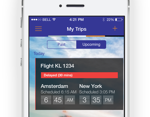 Screenshot of Global Travel Management App My Trips
